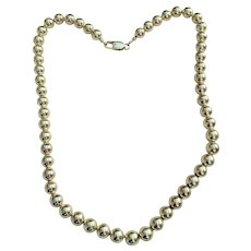 Vintage Sterling Silver 925 Bead Necklace strung on a Sterling Silver Chain