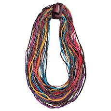 Vintage Ethnic Multi Strand Colorful Beaded Necklace with Carved Clasp