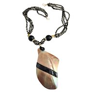 Vintage Large Shell Reversible Necklace with Black Beads