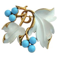 Vintage Sarah Coventry White Enameled Leaves with Light Blue Beads Pin Brooch