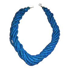 Vintage Ethnic Teal Blue Wood and Natural Seed Bead Multi Strand Necklace