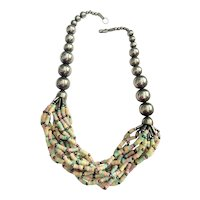 Multi Strand Pastel Color Beaded Necklace with Silvertone Beads