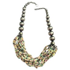 REDUCED - Silvertone Beaded Necklace with Multi Strand Pastel Beaded Front