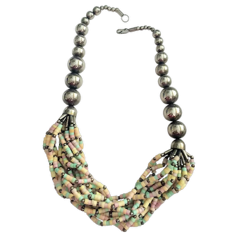 Vintage Ethnic Pastel Color Shell Multi Stand Necklace