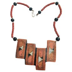 Vintage Laquard Wood with Wood Bead made in Philippines Necklace with Stock ID Number