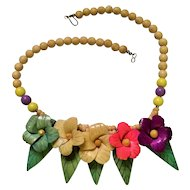 Vintage Colorful Carved Wood Flower Necklace
