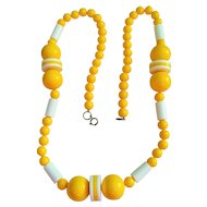 Vintage 1960's Bright Yellow and White Retro Bead Necklace