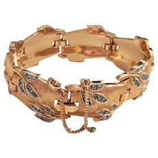 Vintage Crown Trifari Goldtone Bracelet with Crystals Designed by Alfred Philippe