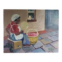 Black Americana Woman with Fan Oil Painting on Wood Panel Signed GFJH (1960)