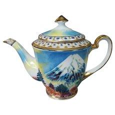 Vintage Circa 1950 Japanese Gem China Porcelain Gilded Handpainted Mountain Motif Teapot
