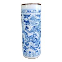 Early 20th Century Chinese Kangxi-Style Blue and White Transferware Porcelain Brush Pot with Five Claw Dragon and Phoenix Motifs