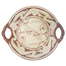 Mid 20th Century Spanish Hispano Moresque Pottery Fish Motif Charger