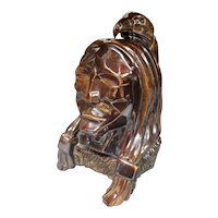 Circa 1930 Art Deco Brown Glazed Clay Indian Chief Bust Sculpture