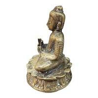Mid to Late 19th Century Chinese Guanyin Lotus Asana Gilt Bronze Figure