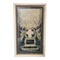 1903 American Victorian In Memoriam Card Print in Period Frame