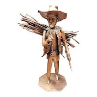 1976 Cowboy with Bundle of Sticks Welded Copper Sculpture by J.B. Vernetti (France)