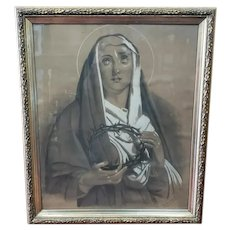 1884 Virgin Mary Holding Crown of Thorns Framed Charcoal and Pastel Drawing by Octavie Lespire Champion