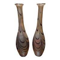 Pair of Mid 20th Century Loetz-Kralik Style Art Glass Pulled Loop Vases