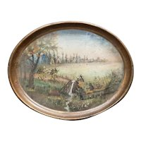 Circa 1767 American Sir William Johnson/Mohawk Indians Hand Painted Toleware Tray