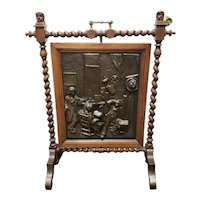 "Circa 1880 English Arts and Crafts Movement Hammered Copper Oak Rotating Fireplace Screen Signed ""DASE"""