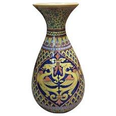 1931-1935 Italian Rubboli Majolica Pottery Dragon Motif Vase