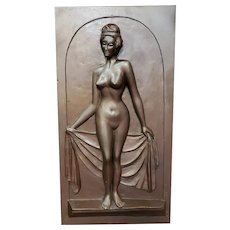 Circa 1930 Art Deco Nude Woman Raised Relief Bronzed Chalkware Wall-Hanging Sculpture