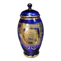 Circa 1900 Bohemian Gilded Cobalt Glass Lidded Jar with Ship Motif