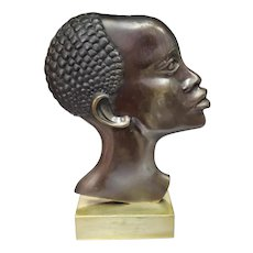 1930's Austrian Art Deco After Franz Hagenauer Bronze African Woman Bust Sculpture