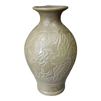Circa 10th Century Chinese Yaozhou Bise Yao Carved Celadon Phoenix Tail Vase