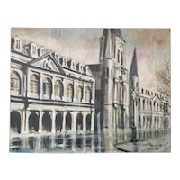 New Orleans Cabildo, St. Louis Cathedral, and Presbetere Oil Painting on Board by Harsol (1968)