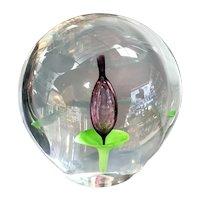 1970's Italian Murano Sommerso Glass Flower Paperweight