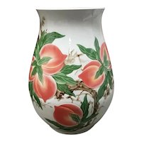 Mid 20th Century Japanese Molded Porcelain Nine Peaches Motif Bulbous Floor Vase
