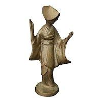 Mid 20th Century Japanese Sado Island Dancer Gilded Cast Iron Figurine