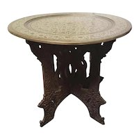 Mid 20th Century Indian Brass Charger Top Folding Wood Base Tea Table
