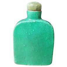 Circa Late 18th/Early 19th Century Chinese Emerald Green Glazed Porcelain Snuff Bottle with a Jadeite Stopper and an Ox Bone Spoon