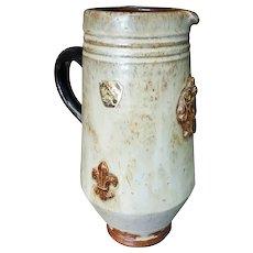 Mid 20th Century Belgian Roger Guerin Pottery Stoneware Fleur de Lis Motif Pitcher