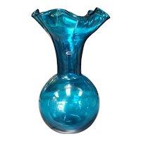 2014 Blenko Glass Blue Ruffled Edge Bottle Vase Signed by William Blenko Jr.
