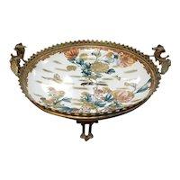 Mid 19th Century Japanese Satsuma Porcelain Centerpiece Bowl in Gilt Bronze Dragon Handle Stand