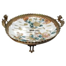 Mid 19th Century Japanese Satsuma Porcelain Centerpiece Bowl in Gilt Bronze Dragon Handle Stand
