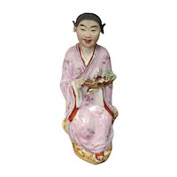 Circa 1920 Chinese Immortal Lan Caithe Porcelain Figurine (Minguo Period)