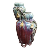 Circa 2nd Quarter 20th Century Chinese Yixing Clay Flambe Glaze Double Vase with Raised Peony Branch Decoration