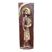 Mid 20th Century Spanish Moses with Ten Commandments Polychrome Raised Relief Wooden Icon
