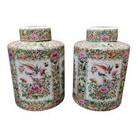 Pair of 1862-1873 Chinese Famille Rose Canton Porcelain Cylindrical Bird/Floral Motif Ginger Jars (Tongzhi Period)