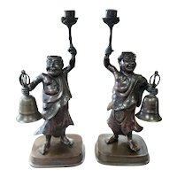 Pair of Circa 1880 Japanese Bronze Figural Temple Candlesticks (Meiji Period)