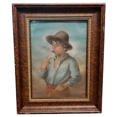 """Eugene von Blaas - """"Young Boy with Cigar"""" Pastel Drawing on Paper (1892) (Italy)"""