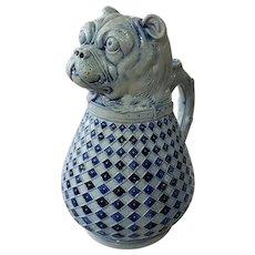 Late 19th Century German Gerz Westerwald Salt Glazed Stoneware Bulldog Absinthe Pitcher