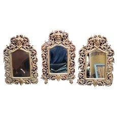 Circa 1890 Set of 3 P.E. Guerin Gilt Brass Bacchus Mirrors Made in New York