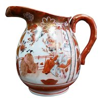 Early 20th Century Japanese Kutani Porcelain Pitcher with Bamboo Handle