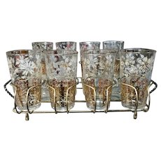 Mid Century Anchor Hocking Gold/White Floral Pattern Highball Glasses/Snack Trays Set in Wire Caddy