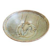 Mid 20th Century Japanese Tenmoku Pottery Hare's Fur Glaze Rabbit Motif Bowl by Arakawa Toyozo